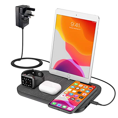 BUYBEYBUY Wireless Charger for iPhone 4 in 1 Wireless Charging Station for i Phone 12/11/X/XR/Xs/8 A pple Watch 5/4/3/2/1 ipad and Air pods Pro/2/1