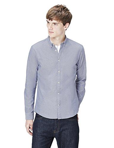 T-Shirts Camisa de Rayas Estilo Óxford para Hombre, Azul (Plain Oxford/204), S, Label: S