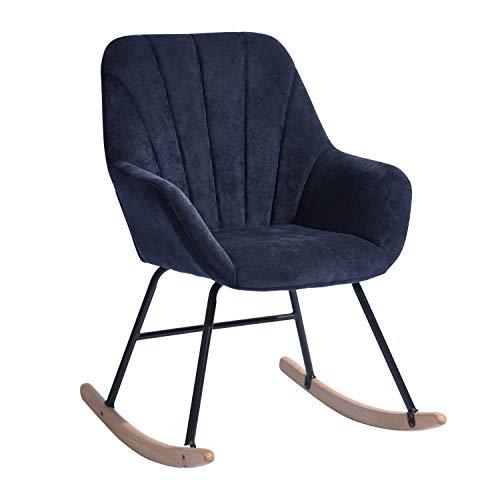 HOMYCASA Fauteuil à bascule moderne en tissu - Design ergonomique avec pieds en bois massif - Pour le salon - Bleu
