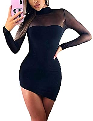 Haola Womens Long Sleeve Mesh Dress Sexy Mock Neck Bodycon Party Mini Dresses