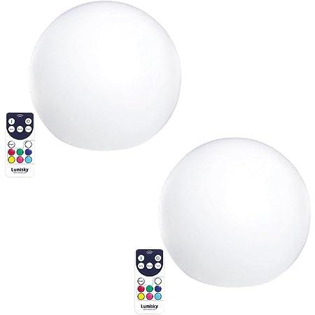 Lot de 2 Boules lumineuses sans fil flottante LED multicolore dimmable BOBBY ∅30cm avec télécommande et socle à induction