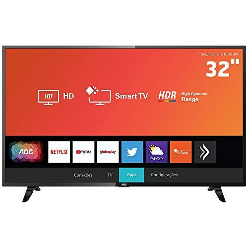 Smart TV LED 32' HD AOC 32S5295/78G com HDR, Wi-Fi, Miracast, Botão Netflix, Botão YouTube, Conversor Digital Integrado, HDMI e USB