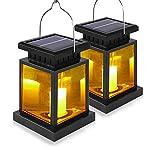 Juego de 2 farolillos solares LED con vela LED, blanco cálido, incluye batería – 2 vasos en juego de lámpara solar para jardín (2 farolillos con vela LED)