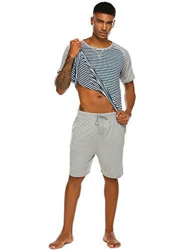 Pyjama Herren Kurz Schlafanzug Kurzarm Gestreiftes Jugend Schlafanzüge Zweiteiliger Anzug mit Top Streifen Hemd und Unifarbe Hosen für Sommer Grau M