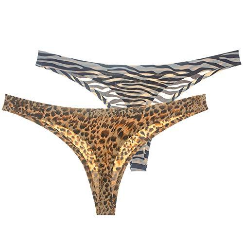 ZHER-LU Lot de 2 strings pour femme avec imprimé léopard sexy et respirant - Très extensible et soyeux - Taille basse - Sans coutures - Beige - L