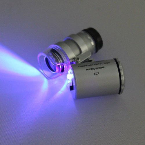 Mini 60x LED UV Light Pocket Microscope Jeweler Currency Magnifier Adjustable Loupe Model: , Toys & Games for Kids & Child