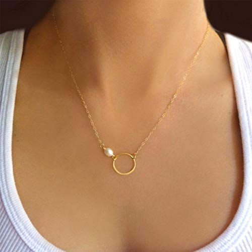 TseenYi Circle Karma Necklace Choker Tiny Pearl Necklace Short Clavicle Necklaces Jewelry for women and Girls (Gold)