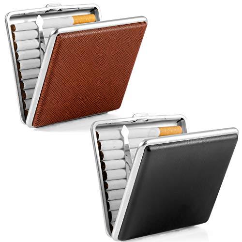 2 X Leder Zigarettenetui Schwarz/braun aus hochwertigem Metall/PU Leder, elegant Metal Zigarettenbox Schwarz zurückhaltend Dank Applikation aus pu Leder Black Cigarette Case für 20 Zigaretten