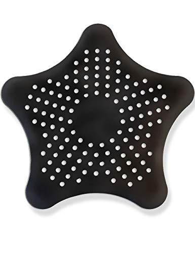HomeTools.eu® - XXL großes Silikon Abfluss-Sieb mit Saugnäpfen, für Küche Spüle Bad Wanne Dusche gegen Haare, Krümel, 15 x 15cm, schwarz