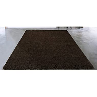 Sweet Home Stores Cozy Shag Collection Solid Shag Rug, 6'7  X 9'3 , Brown Color