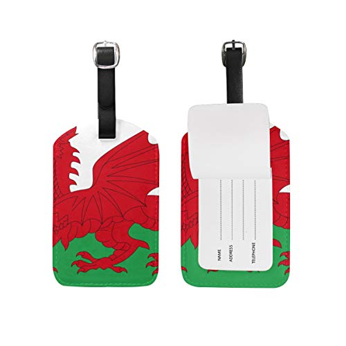 Luggage Tags 2 Pieces Set Buy Wales Flag (Dragon) Flexible Travel ID Identification Labels Set for Bags & Baggage