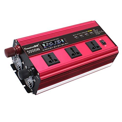 ZXF- Inversor De Corriente De 4000W Cargador De Coche DC 12V A AC 240V Convertidor Salida De CA Universal Y 4 Puertos USB con Ventiladores De Refrigeración Pantalla LED