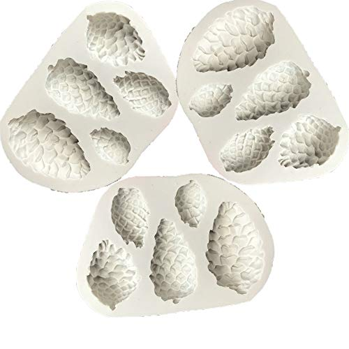 Molud de Silicona de 5 Cavidades, 3 Piezas Conos De Pino Forma...