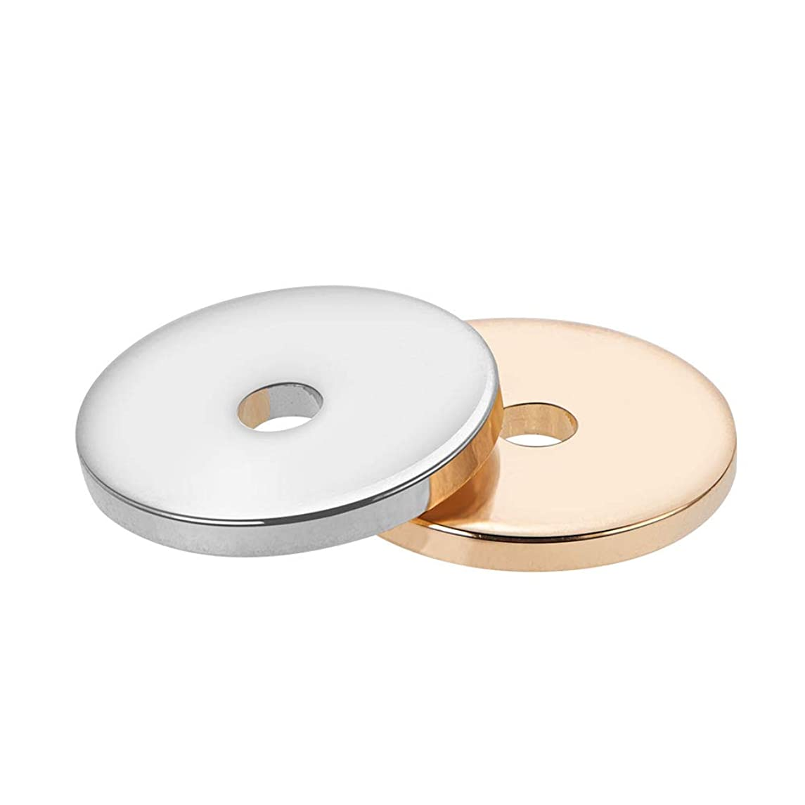 BENECREAT 40PCS 10mm 18K Gold Plated & Platinum Plated Bead Spacers Flat Round Bead Spacers Loose Spacer Charms for Jewelry Making Crafts