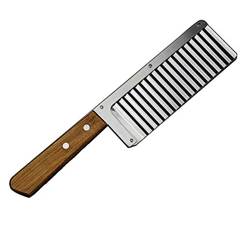 Crinkle Cut Knife,Stainless Steel Wavy Edged Unique Crinkle Cutting Tool,Fruit and Vegetable Chopper Knife for Potatoes Cucumber and Carrot French Fry Slicer Stainless Steel Blade Peeler