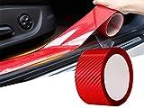 Protector Puerta Coche de Fibra de Carbono Universal, Protector Parachoques Coche Flexible Autoadhesivo, Protector Spoiler para Coche Pegatinas Coche Tuning Proteccion (5cmx5m, Rojo)