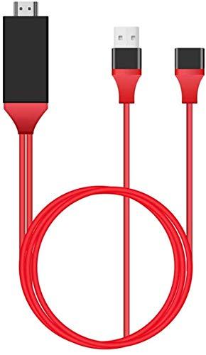 Fayeille HDMI HDTV Av Cable Adaptador Universal Teléfono a TV 1080p para Teléfono Móvil & Tabletas, para IPHONE 6 7 8X - Rojo