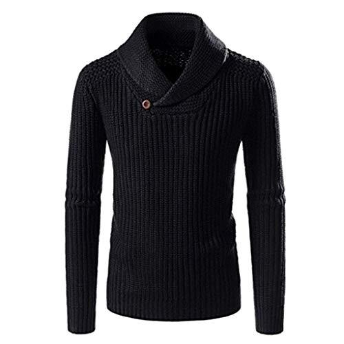 LILICAT Herren Langarm Strickshirts Einfarbig Sweater Kleiner V-Ausschnitt Strickjacke Regular Fit Oberteil Kleidung Knopf Jumper Shirt Freizeit Wollmantel Atmungsaktiv Pullover