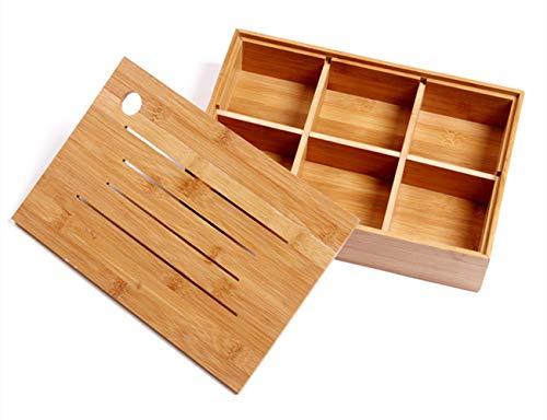 Stilvolle Bambus-Trockenobst-Box Mit Deckel Holz Obstteller Europäische Obstteller Multifunktionale Pralinenschachtel Snack Aufbewahrungsbox Sechs Raster Snack-Box Geeignet Für Familien Teezeremonie