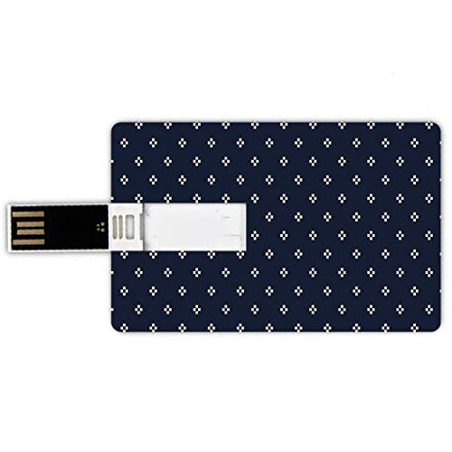 64GB Chiavette USB a forma di carta di credito Indaco Memory Card stile carta di credito Croce Plus come forme quadrate su sfondo scuro Stampa immagine ispirata alla Marina,blu scuro e bianco Penna im