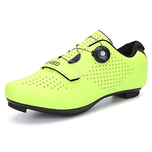 Zapatillas de ciclismo para hombre y mujer, zapatillas de ciclismo antideslizantes para ciclismo al aire libre Verde Size: 36 EU