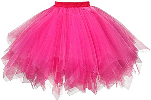 MuseverBrand 50er Vintage Ballet Blase Firt Tulle Petticoat Puffy Tutu Fuchsia Large/X-Large