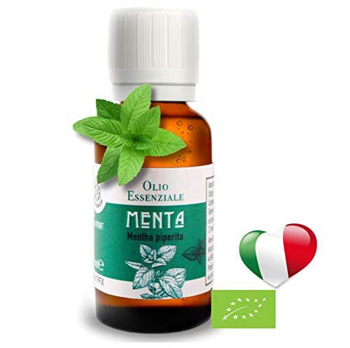 Olio Essenziale Biologico Uso Alimentare Menta Piperita (30 ML) PRODOTTO IN ITALIA, Essenza Naturale,Puro,Profumo Olii Per Diffusori, Diffusore A ultrasuoni, Umidificatore Ambienti