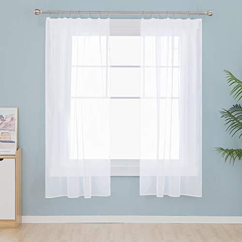 Deconovo Gardinen mit Kräuselband Stores Schal Vorhänge für Schiene Transparent Wohnzimmer Schlafzimmer Modern Weiß 138x140 cm 2er Set
