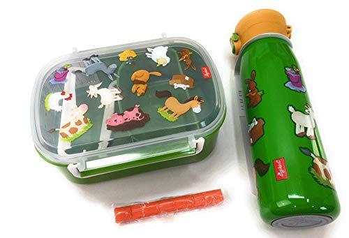 Sigikid Lunchbox en isolatiefles Farmdieren groen en klei