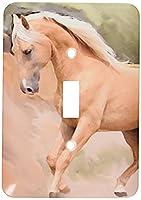 3Dローズ 馬 ‐ パロミノ ホース - 照明スイッチカバー - シングル トグルスイッチ - lsp_4799_1 (並行輸入)