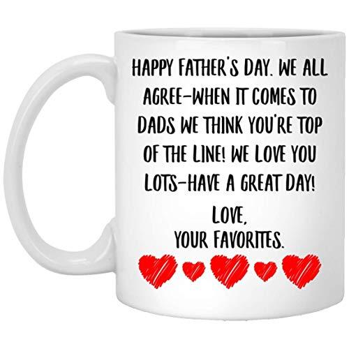 N\A Mensaje del día del Padre para papá, te Queremos Mucho, Que tengas un Gran día, Taza de café con Leche, 11 oz