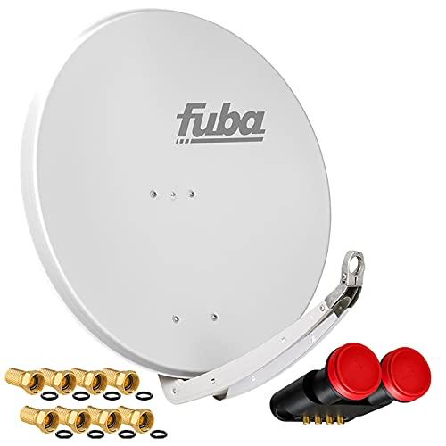 hb-digital SAT-Anlage für 2 Satelliten und 4 Teilnehmer/Receiver - FUBA Schüssel 85cm DAA850G + Megasat Diavolo Monoblock Quad LNB für Astra & Hotbird 0,1dB Full HDTV 4K + 8X F-Stecker vergoldet
