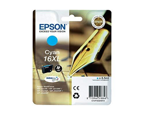 Originale Epson C13T16324010 / T1632 cartucce d'inchiostro (ciano, capacità 6,50 ml) per Workforce WF 2010, WF 2510, WF 2520, WF 2530, WF 2540
