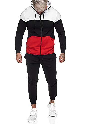 OneRedox | Herren Trainingsanzug | Jogginganzug | Sportanzug | Jogging Anzug | Hoodie-Sporthose | Jogging-Anzug | Trainings-Anzug | Jogging-Hose | Modell JG-1083 Weiss-Schwarz-Rot XL