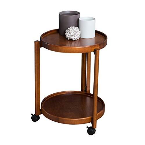 Côté Mobile Salon avec canapé-Roue Ronde Chambre à Coucher Solide Table d'appoint de Rangement en Bois Porte-revues Multi-Fonctions (Color : Brown, Size : 39 * 39 * 67.5cm)