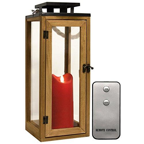 Dekovita 42cm Holz-Laterne - Gartenlaterne inkl. 18cm Outdoor LED Kerze in Rot mit Timer Fernbedienung