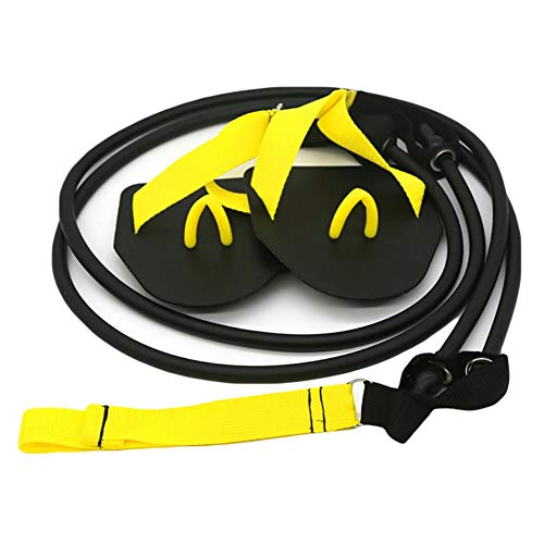 Leezo Nuoto Forza Braccio Trainer Swim Paddle Pinne Professionale Freestyle Nuoto Allenamento Braccio Fascia Elastica per Nuoto Allenamento, Yellow(60lb)