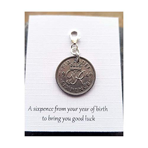 Birth Date Sixpence Charm 1947-1967, Lucky Sixpence Pendant, Silver Sixpence, Sixpence Charm, Sixpence Gift, Date of Birth Gift
