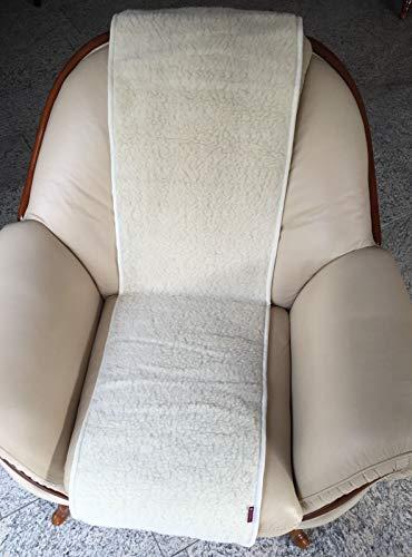 Alpenwolle Sesselschoner Merino gelockt 50x200cm Überwurf Sitzauflage Sesselüberwurf 100% Wolle