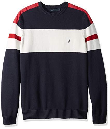Nautica Herren Challenger Crewneck Stripe Sweater Pullover, Navy, LT Hoch