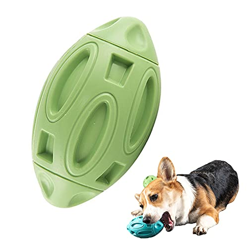 Rugby-Ball für Hunde aus Gummi, quietschend, für Rugby, Fußball, Kauspielzeug, Welpen, Leckerli-Ball, Zahnreinigung, bissfest, Kauspielzeug, ideal für Outdoor-Aktivitäten, aggressive Kauer