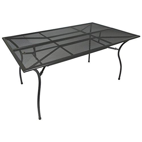 Gartentisch 150x90x73cm dunkelgrau beschichtet aus Stahl Streckmetall