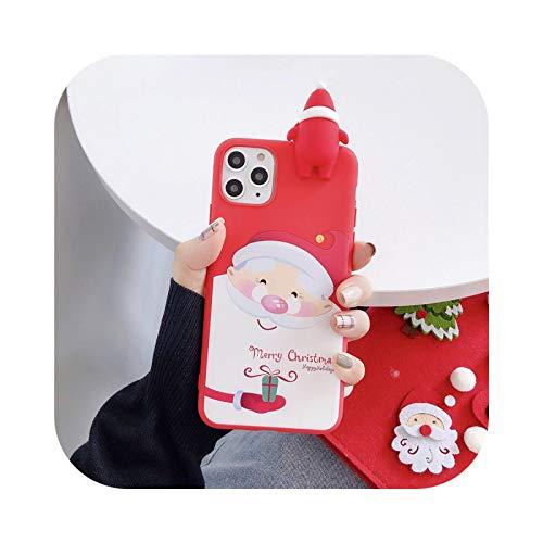 3D Cartoon Puppe Weihnachtsmann Rentier Baum Handyhülle Weich für iPhone 11 Pro Max 12 X XS XR 7 8 Plus SE 2020 Schutzhülle Geschenk H-For iPhone 12