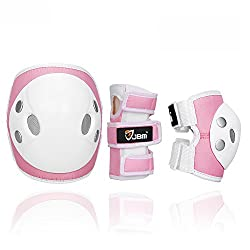girls safety gear in pink including knee, elbow and wrist guards