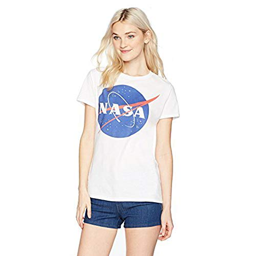 NASA Junior's Blue Logo Short Sleeve Graphic T-Shirt, White, S