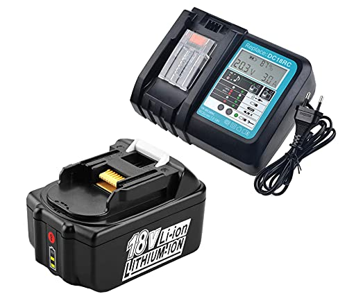 FengBP®, batteria 5A 18V 5000mAh, Makita BL1850 B BL1830 B L1840B BL1815 BL1815N agli ioni di litio + caricatore DC18RC DC18RA