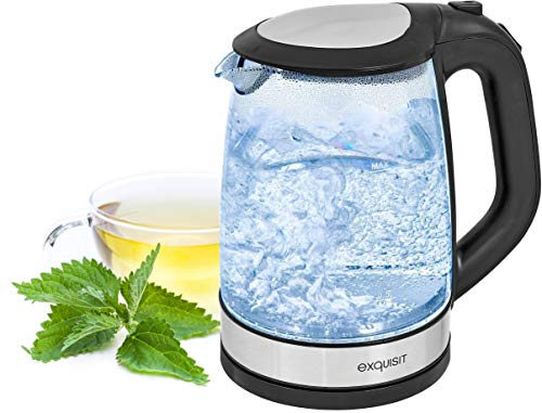 Exquisit swg Glas-Wasserkocher WK 3501 | Innenbeleuchtung | 2 Liter | 2200 Watt | Edelstahlverzierung, schwarz, 2 liters