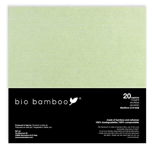 bio bamboo BIO Color Verde 40X40 Tovaglioli monouso, Viscosa di bambù e cellulosa, 20 Pezzi, unità