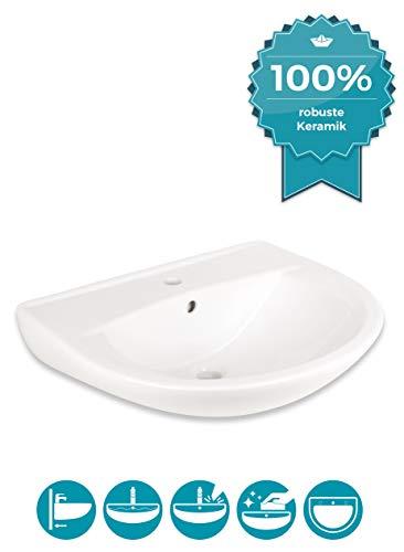 Calmwaters® Weißes Waschbecken 60 cm, aus hochwertiger Sanitär-Keramik mit Hahnloch und Überlauf zur Wandmontage, ovaler Hänge-Waschtisch Essential 3 aus Keramik, 60 x 48 cm, weiss - 05AB2324