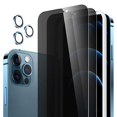 Meifigno 2 protectores de pantalla de privacidad de cristal blindado compatible con iPhone 12 Pro Max (6.7 pulgadas), 3 unidades de protector de cámara y marco de montaje, bordes 3D, dureza 9H